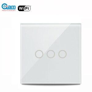 Image 1 - NEO Coolcam 5A واي فاي الجدار مفتاح الإضاءة 3 عصابة تعمل باللمس مفتاح حائط يعمل باللمس دعم اليكسا ، جوجل Assitant IFTTT