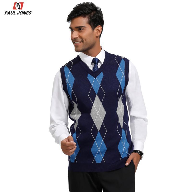 PAUL JONES Men Classic V-Neck Argyle Sweater Vest Stylish Jumper Vest Sleeveless Knitted Pullover Diamond Check Knitwear PJ0228