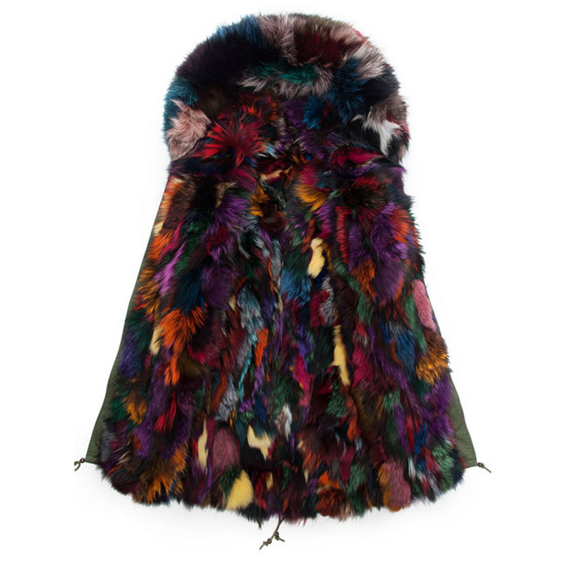 Colorful Fox Fur Parkas Long Style Fur Collar Hooded Mens Real Mulitcolor Fur Jacket Outwear Winter Wear S-4XL