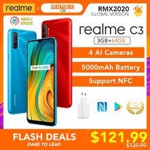 Realme c3 versão global 3gb 64gb telefone móvel helio g70 12mp ai câmera 6.5