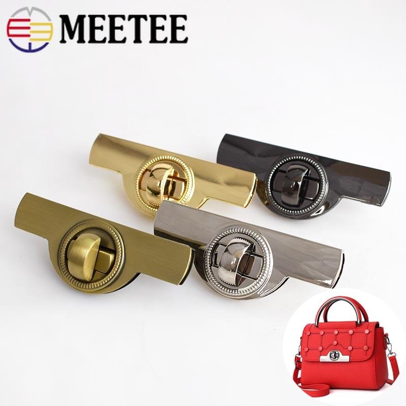 Meetee 2pcs Arch Metal Lock Buckles Bag Handbag Ring Pull Twist Clasp DIY Luggage Hardware Decoration Accessories BF129