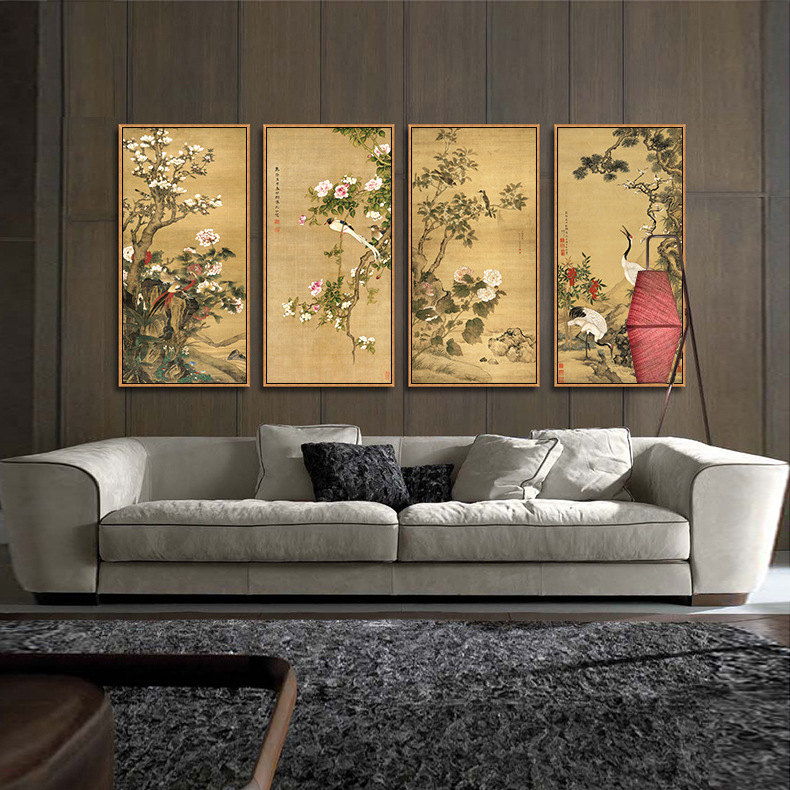 Traditional Chinese Painting of Peony,the National Beauty and Heavenly Fragrance of China,Unframd Canvas Print Painting Poster(China)