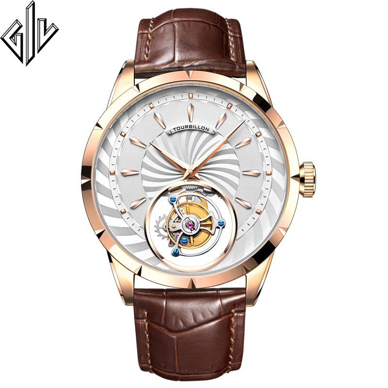 GIV Real Tourbillon Watch Men Top Luxury Brand Sapphire Clock Mens Business Mechanical Watch Montre Homme Watches