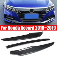 3pcs/set Car Front Bumper Lip Carbon Fiber Style Protector Trim Cover for Honda for Accord 2018 2019 Bumper Car Styling