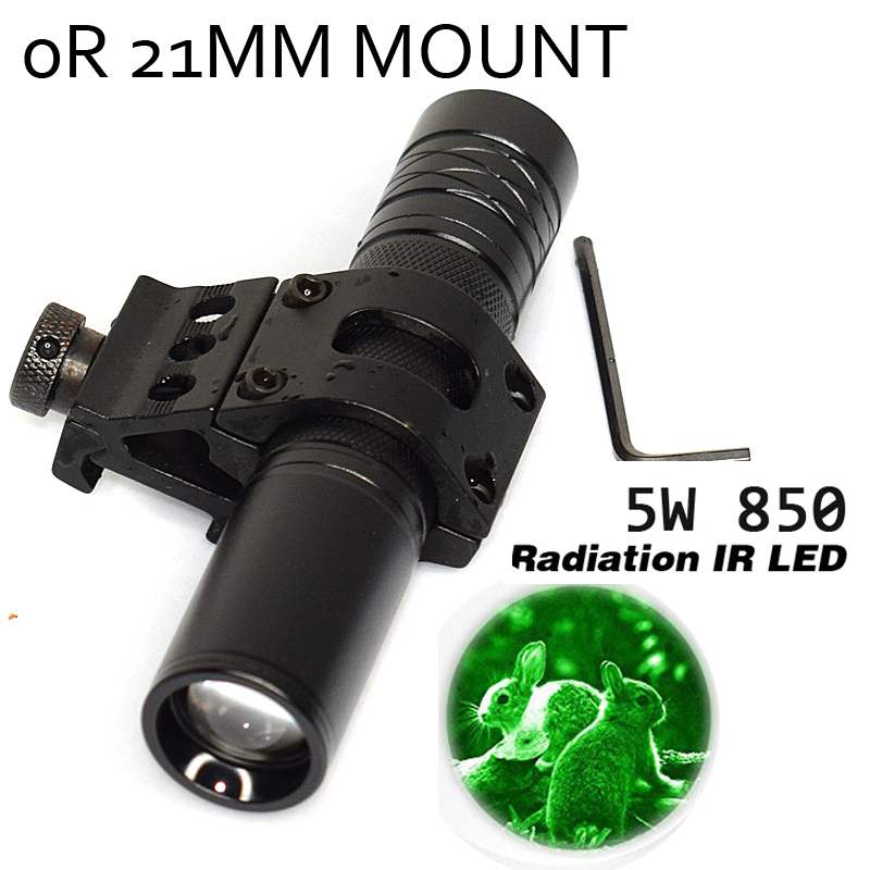 5W Torch 850nm Zoom Infrared Radiation IR LED Night Vision flashlight Zoomable Green-Red White LED Hunting Flashlight With Remot