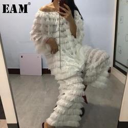 Женский костюм EAM, широкие брюки из двух предметов с кисточками, большие размеры, круглый ворот, свободный крой, весна-лето 2020, 1X103