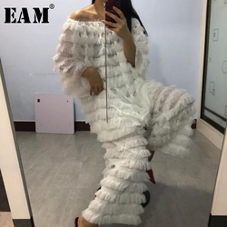 [EAM] Wide Leg Pants  Tassels Big Size Two Piece Suit New Round Neck Loose Fit Women Fashion Tide Spring Summer 2020 1X103