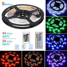 JUNEJOUR 5M LED Strip Light  5050  2835 Flexible  Strip Light EU Plug  5Meter With 24/44 Key Remote Control