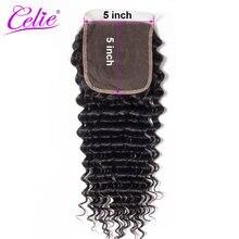 Celie-extensiones de pelo brasileñas con malla, accesorio capilar de Color negro con cierre de onda profunda, 150% Natural, Remy HD, 5x5