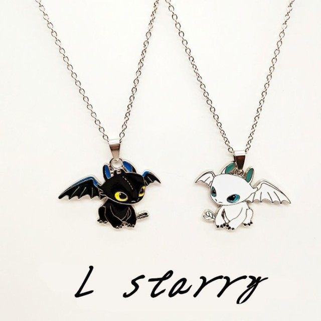 Fashion Cartoon Necklace Black and White Night Evil Double Dragon Personality Hip Hop Couple Friends Gift Pendant 5