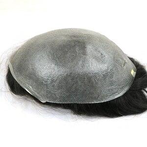 "Image 1 - Eversilky peruka damska z cienką skórą peruka 8 ""x 10"" 100% indyjskie ludzkie włosy Remy naturalne męskie System wymiany V Loop Mens wig"