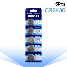 Alta qualidade 5 unidades/pacote cr2430 baterias de botão lítio de 3 volts dl2430 br2430 cr2430 para gravadores de voz digital bateria da moeda da pilha