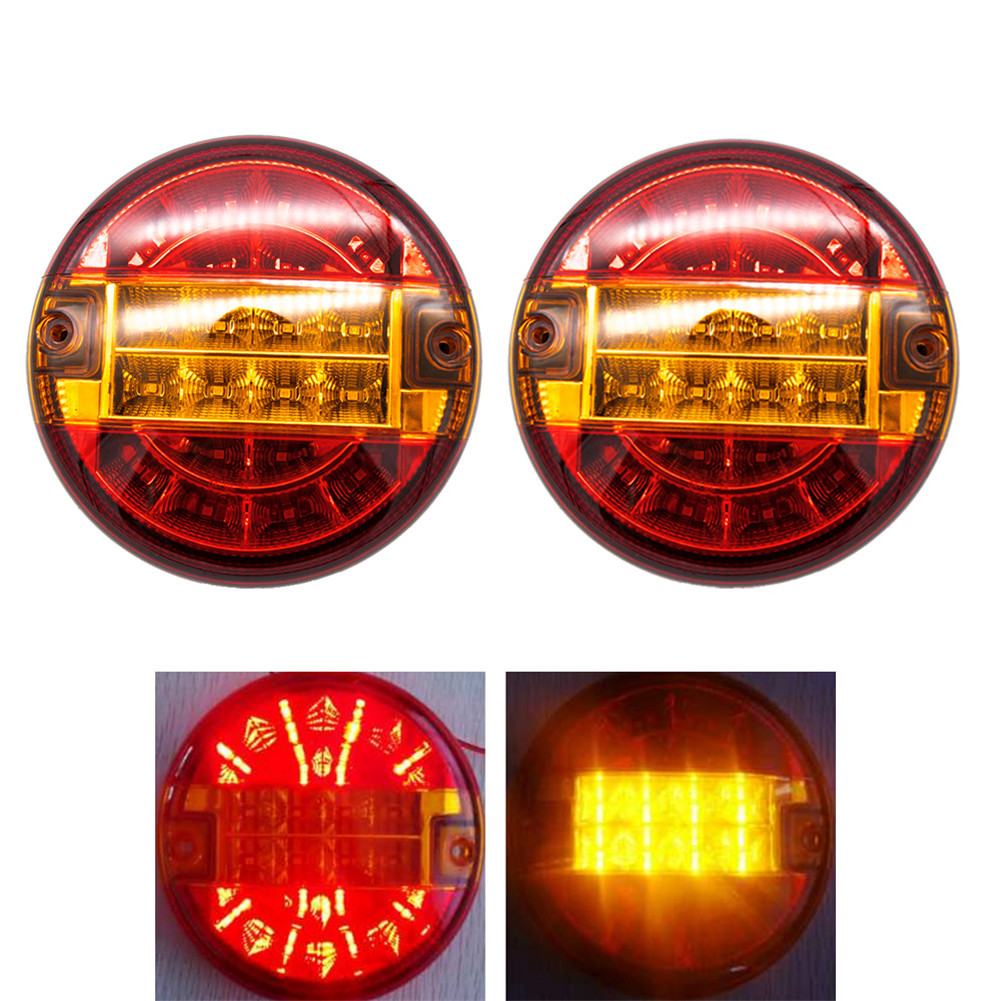 Round LED Amber Red Taillights Side Marker Indicator 20LED 12V Warning Lights Stop Brake Running Reverse Backup Light For Truck