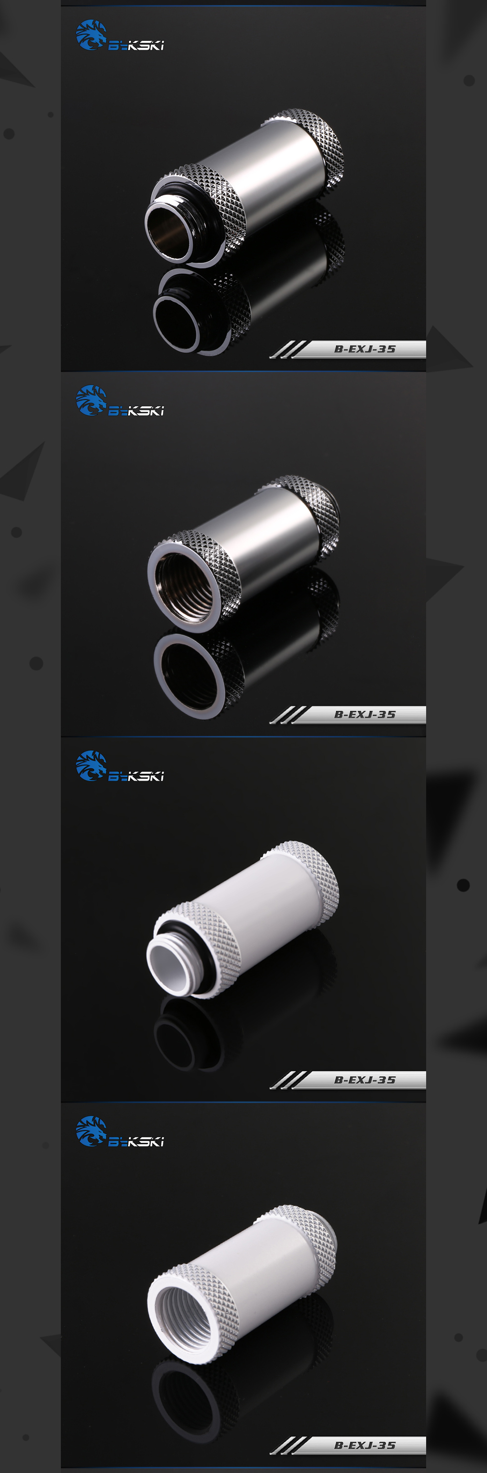Bykski B-EXJ-35, 35mm Male To Female Extender Fittings, Boutique Diamond Pattern, Multiple Color G1/4 Male To Female Fittings