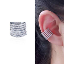 Personality Korean  Simple Fashion Micro-inlaid Zircon Earrings punk rock clip earrings rhinestone snake ear cuff