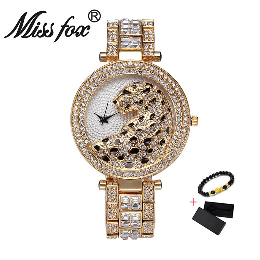 Miss Fox Women Watch Luxury Crystal Diamond Leopard Casual Ladies Quartz Watch Female Gold Watches For Women Reloj Mujer 2019