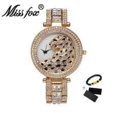 Miss Fox Women Watch Luxury Crystal Diamond Leopard Casual L