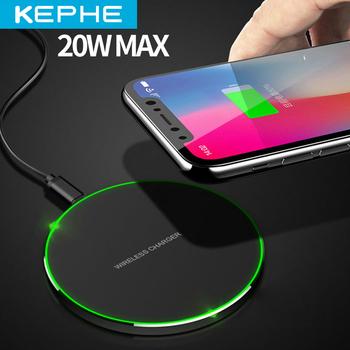 KEPHE 20W szybka ładowarka bezprzewodowa dla Samsung Galaxy S10 S9 S9 + S8 uwaga 9 USB podstawka ładująca qi dla iPhone 11 Pro XS Max XR X 8 Plus tanie i dobre opinie Metal Z wskaźnik ładowania Z kablem Z LED światła Używany z telefonu Używany z słuchawki Micro Usb Pulpit Pad ROHS