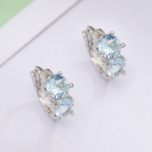 2Pcs Round Circle Earrings for Women Small Girl Hoop Earrings CZ Crystal Girlfriend Gift Earring(China)