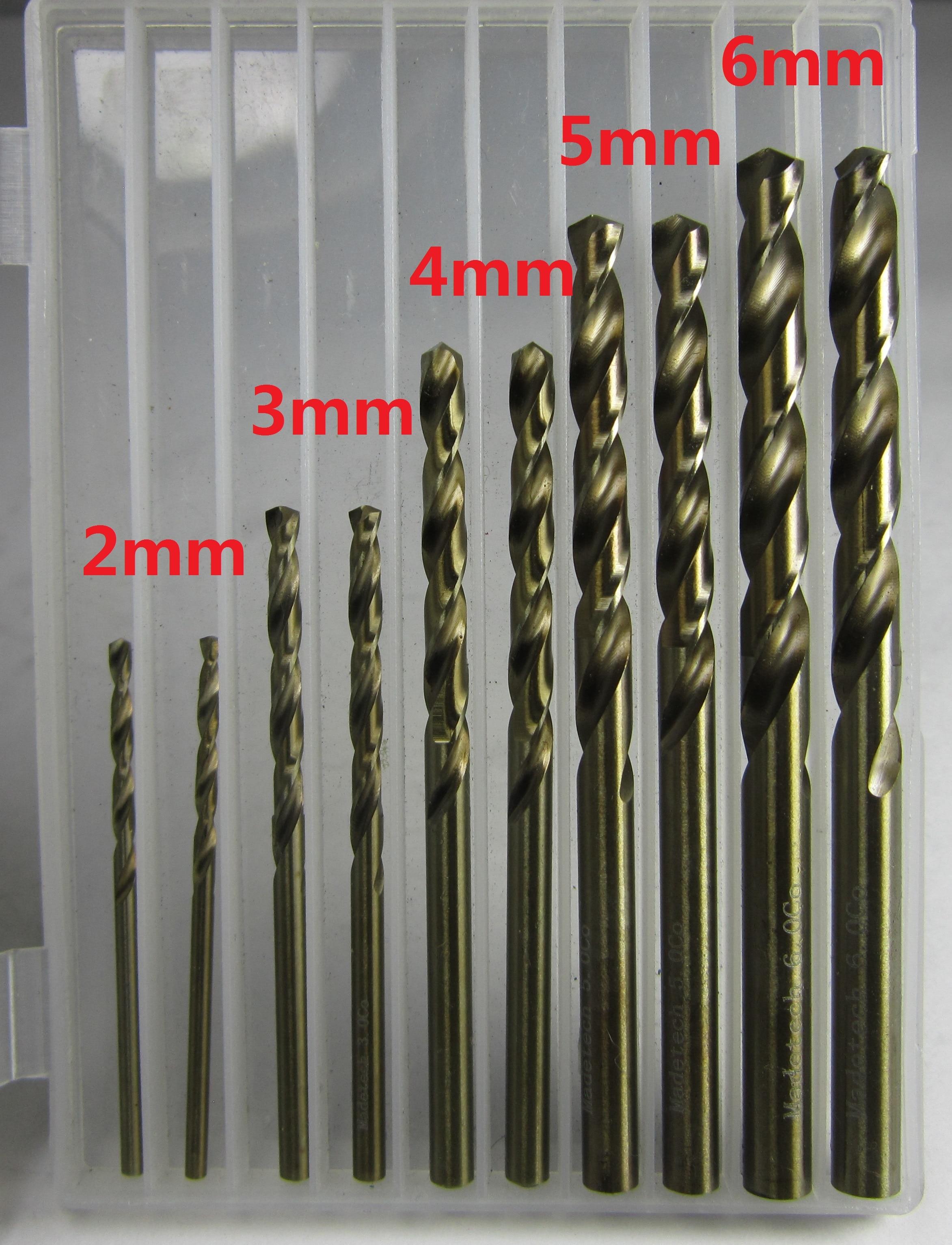 Freeshipping 10PCS HSS-CO M35 Cobalt Twist Drill Bit High Precision Metal Hole Processing Electric Drill Ø 2mm 3mm 4mm 5mm 6mm
