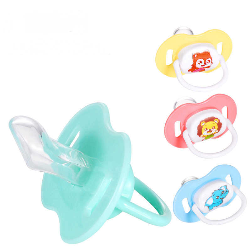1PCs Orthodontics Pacifiers Baby Cotton Animals Printing Safe Food Grade Silicone Cute Baby Round and Flat Nipples Pacifiers