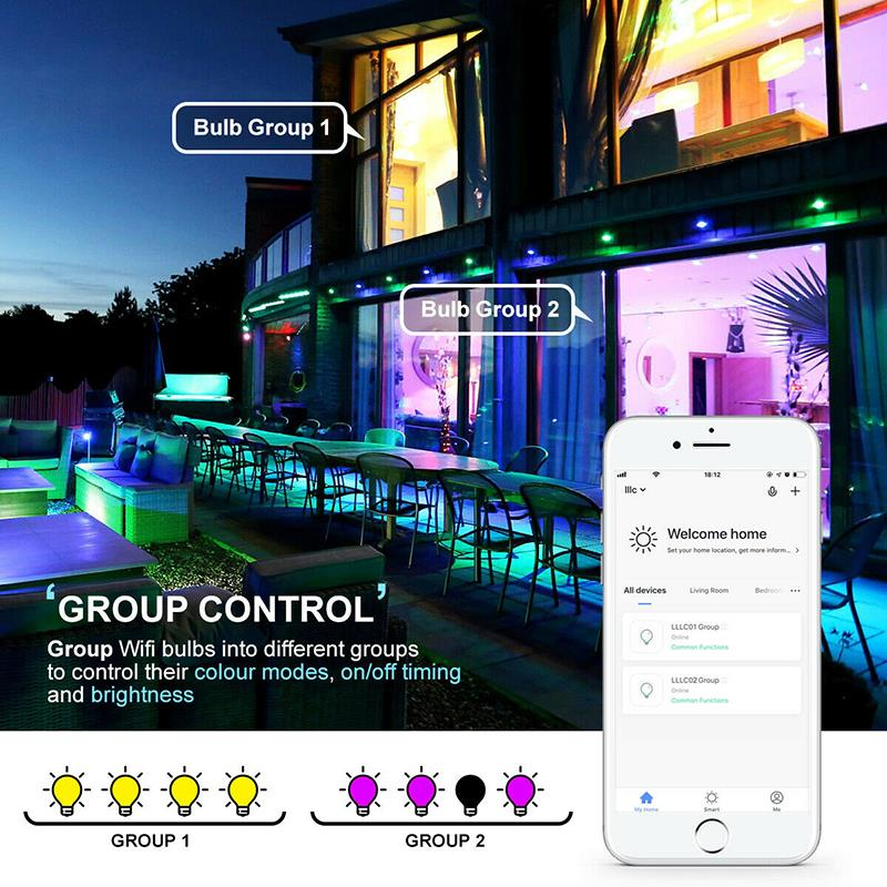 E27 WiFi умный светильник, Диммируемый, многоцветный, Wake Up светильник s, RGBWW светодиодный светильник, совместимый с Alexa Google Assistant - 6