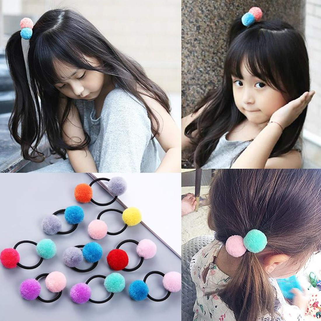 1pcs/set Baby Girls Fur Pompom Hair Tie Gum Bright Color Pom Pom Elastic Hair Band Hair Rubber Bands Hair Accessories
