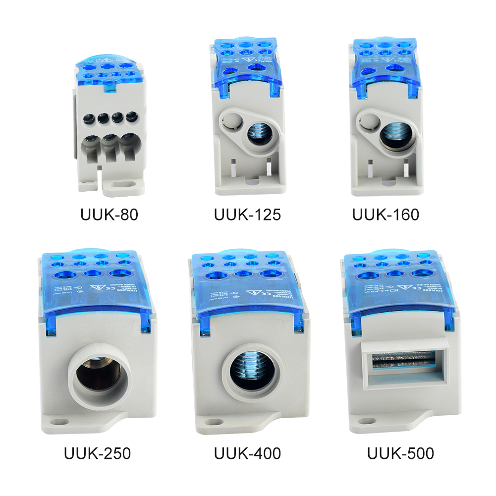 1PC UKK80A 125A 160A 250A 400A 500A Rail Type One-In-Six-Out Terminals Line Distribution Box Current Connection Open Wire Box image