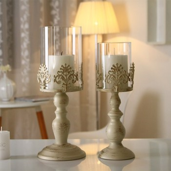 Retro Ceramic Candle Holder Glamour Romantic Tall White Luxury Candle Holder Windproof Modern Kaarshouder Candlestick KK60ZT