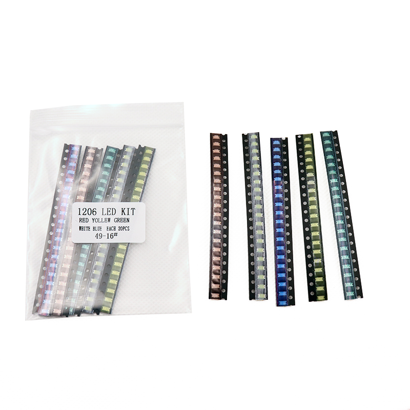 5 colors x20pcs =100pcs  1206 SMD LED light Package  Red White Green Blue Yellow 1206 led kit Free Shipping