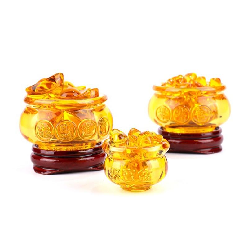 Feng Shui Chinese Crystal Gold Ingots Glass Yellow Wealth Cornucopia Treasure Bowl Statue Decoration