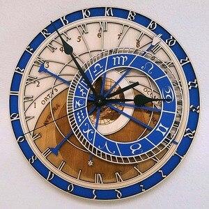 Image 2 - קיר יצירתי שעון פראג האסטרונומי עץ שעון קיר סלון שעון קוורץ שעון בית Decoratio עץ שעון קיר