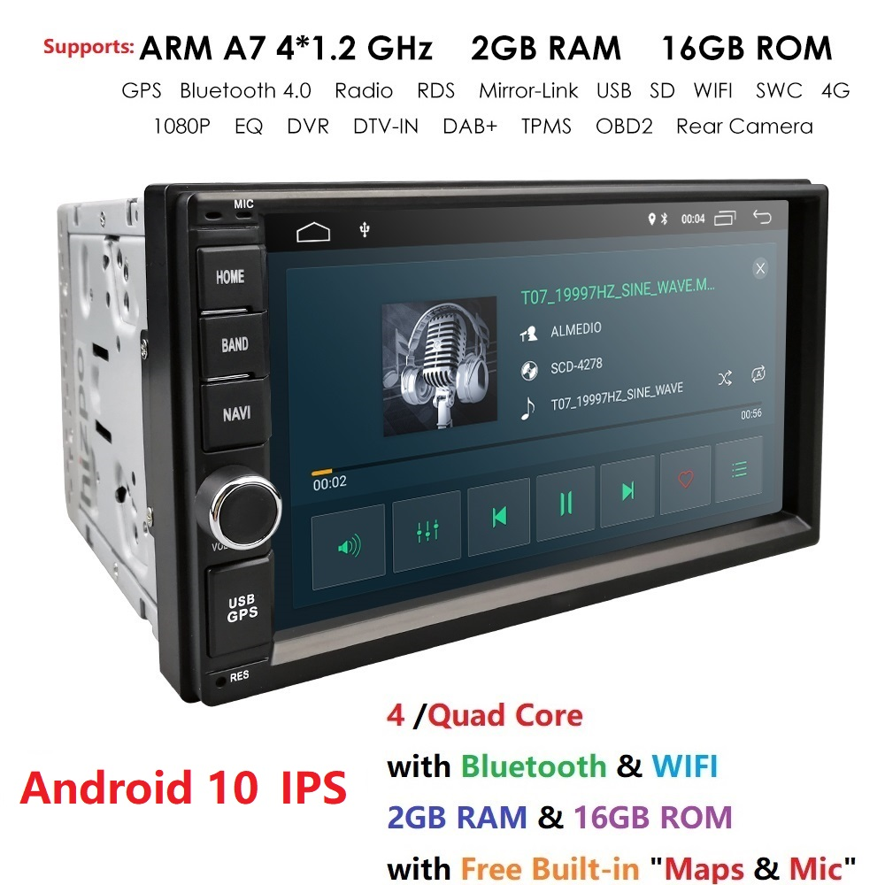 High Version RAM 2GB+ ROM 16GB Android 10 7 Inch 2Din Universal Car Radio GPS Multimedia Unit Player For VW Nissan Kia