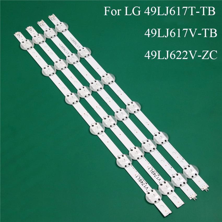 LED TV Illumination Part Replacement For LG 49LJ617T-TB 49LJ617V-TB 49LJ622V-ZC LED Bar Backlight Strip Line Ruler V1749L1 2862A