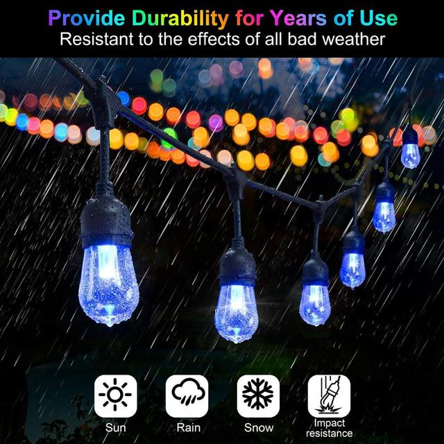15m color changing outdoor string lights 48ft rgb s14 shatterproof edison bulbs dimmable led commercial christmas lights garden