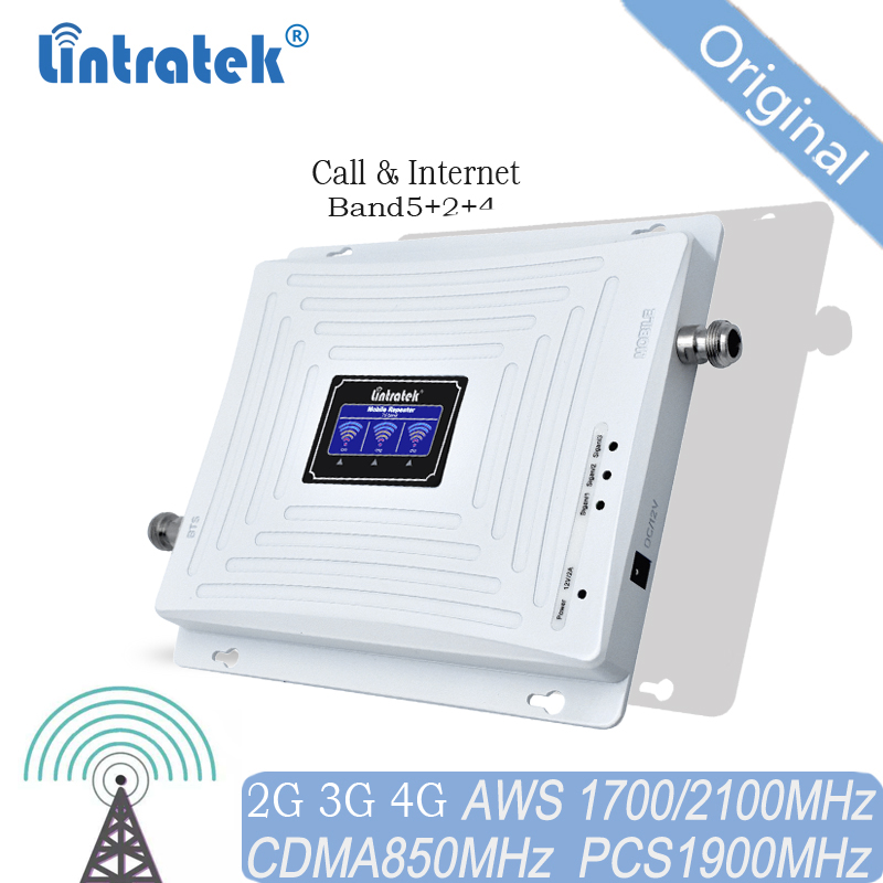 Repeater Amplifier Lintratek 850MHz Signal 1900 1700 Signal Repeater 2G 3G 4G B2 B4 B5 Signal Booster For Americas
