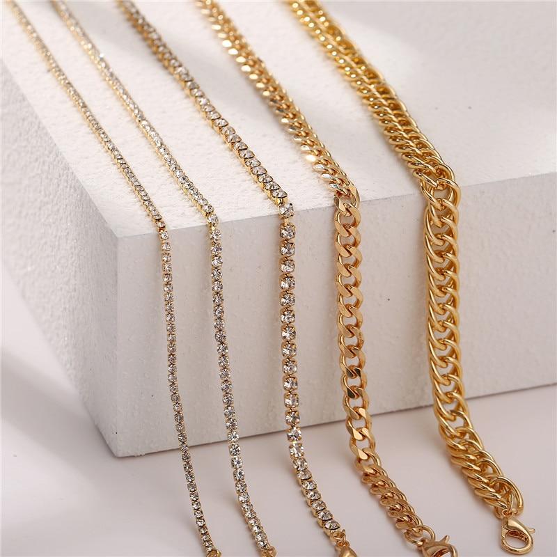 17KM BOHO 5Pcs/set Gold Chain Anklets Set for Women Vintage Multilayer Crystal Anklet Beach Butterfly Foot Bracelet Jewelry
