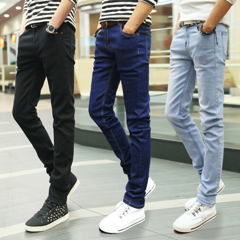 Spring And Autumn New Style Solid Black Korean-style Slim Fit Skinny Pants Classic Teenager Elasticity Jeans Men's Pencil Pants