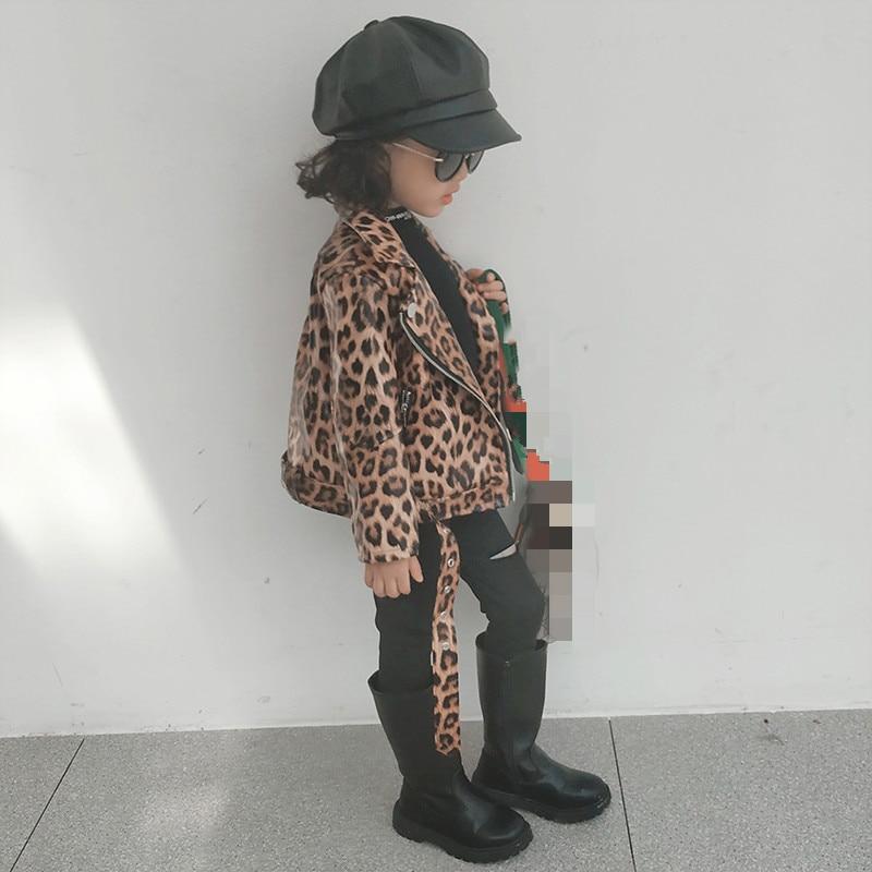 Children Autumn Jacket 2021 Leopard Toddler Girl Coat Kids PU Leather Clothes Baby Boys Girls Short Jackets Zipper Coats Outwear 3