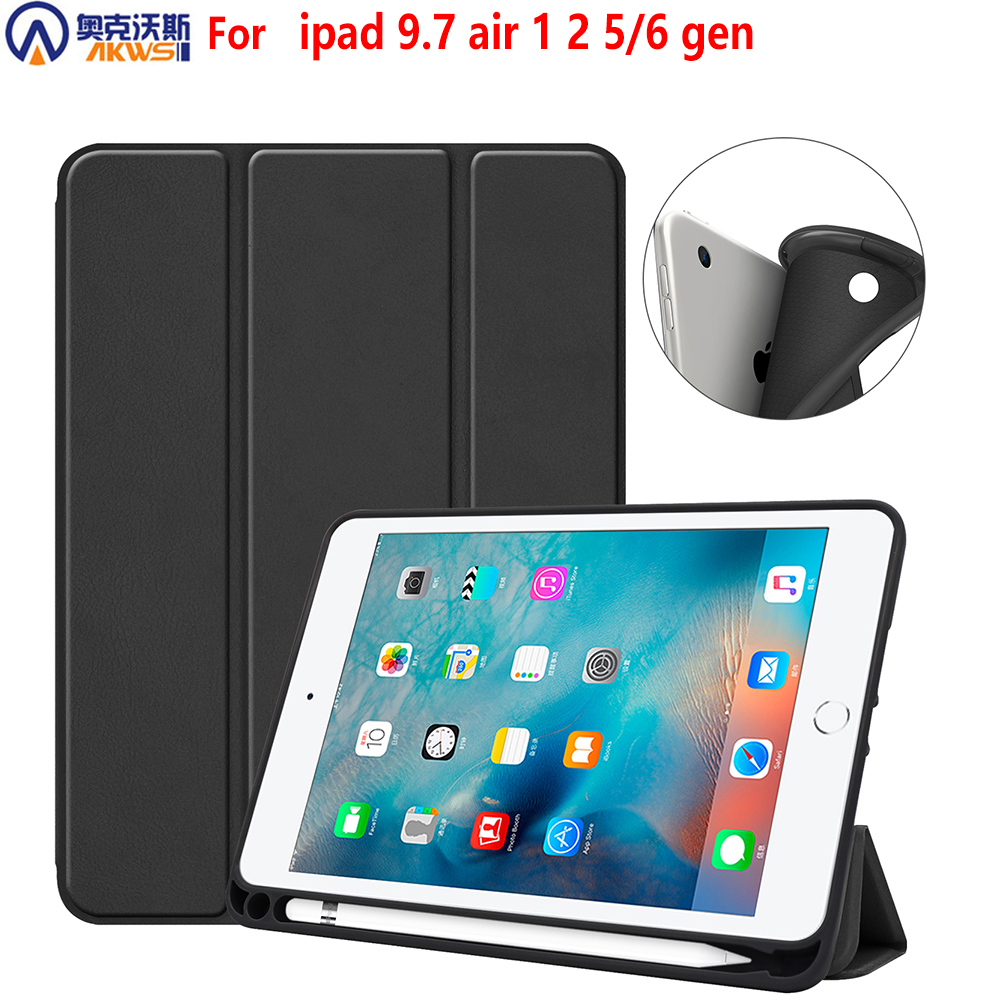 Tablet Case For Ipad 9.7 2018 Silicone Cover Case For Ipad 9.7 TPU Shell Cover Case With Pencil-holder