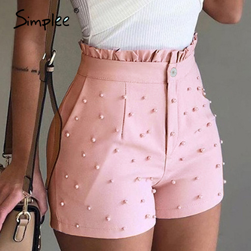 Simplee Fashion Pearls Women Shorts Ruffles High Waist Button Zipper Female Pink Shorts Spring Summer Casual Ladies Bottoms 2020