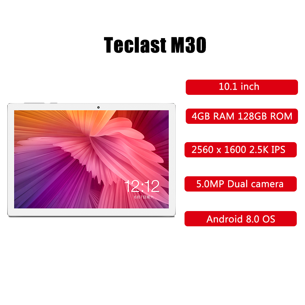Teclast M30 4G Phablet Android 8,0 MTK X27 1,4 GHz Decore cpu 4 Гб ram 128 ГБ eMMC rom 5.0MP + 2.0MP gps 10,1 дюймов 2,5 K ips планшетный ПК