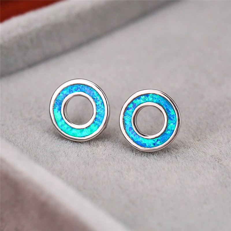 Classic Round Circle Blue/White Fire Opal Stone Stud Earrings For Women Simple Fashion Jewelry Female White Gold Wedding Earring
