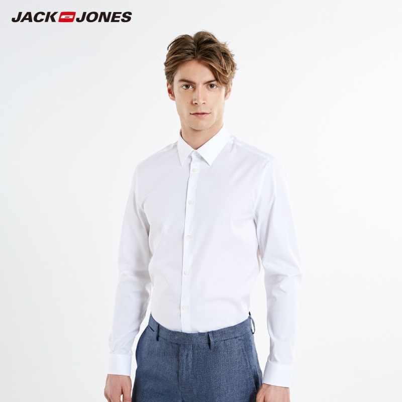 JackJones Мужская Весенняя деловая приталенная Однотонная рубашка с длинными рукавами, базовая мужская одежда | 219105579