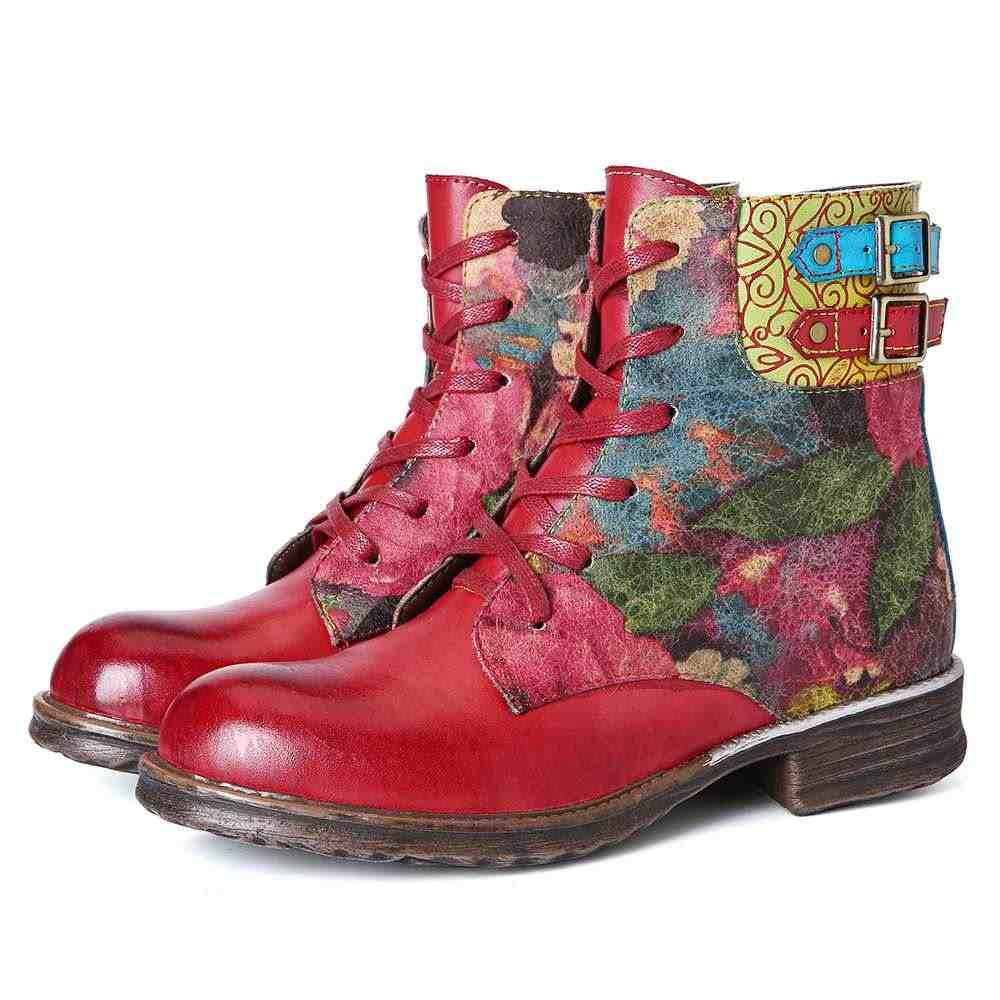 SOCOFY Botas Mujer çizmeler bayan suluboya gül hakiki deri fermuar Lace Up düz çizmeler bayan ayakkabı kadın kış 2020
