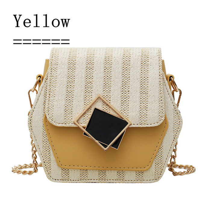 Ha159ee09602d4c99a04c9ab2d13c70eaM - Handbag Women Summer Rattan Bag Hexagon Mulit Style Straw+leather Handmade Woven Beach Circle Bohemia Shoulder Bag New Fashion
