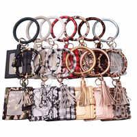 2020 Neue Heiße Verkauf Keychain Karte Tasche für Frauen Männer Leopard Schlange Brieftasche PU Leder Quaste Kabaw Mode Armband Keychain schmuck