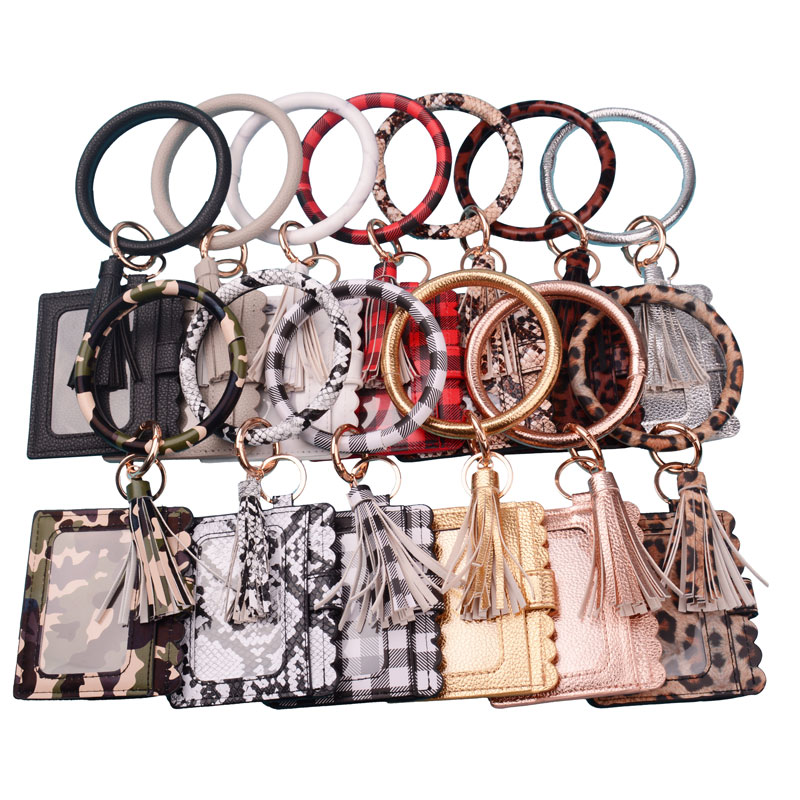 2020 New Hot Sell Keychain Card Bag For Women Men Leopard Snake Wallet PU Leather Tassel Kabaw Fashion Bracelet Keychain Jewelry
