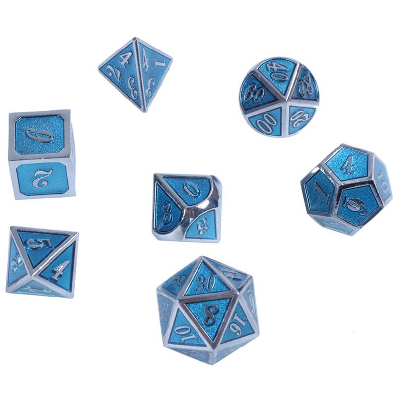 New 7 Piece Polyhedral Translucent Glitter Blue Dice Set With Bag D/&D RPG