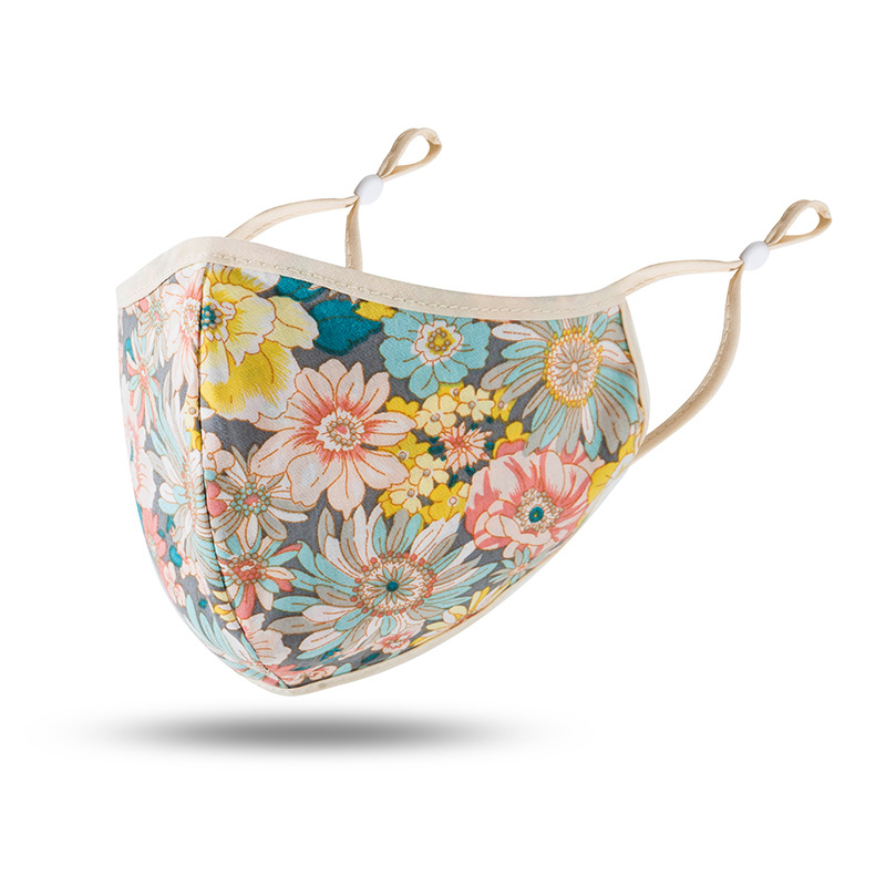 Elegant Mouth Mask Flower Printed Cotton Fabric Mask Floral Pattern Anti Dust Face Mask Cotton Mouth-Muffle Reusable Breath Mask